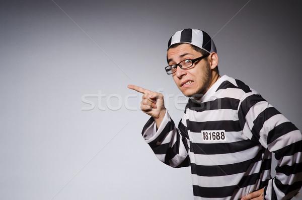 Stock foto: Funny · Gefangener · isoliert · grau · Spaß · Porträt