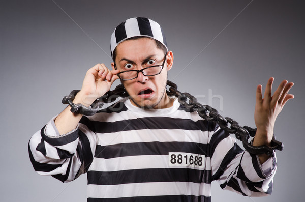 Stock fotó: Fiatal · fogoly · lánc · szürke · szemüveg · portré
