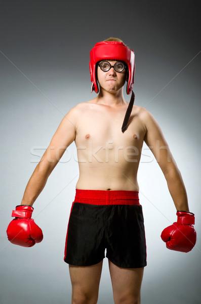 Engraçado nerd boxeador esportes mão homem Foto stock © Elnur