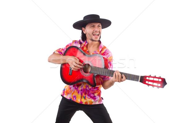 Uomo indossare sombrero chitarra party discoteca Foto d'archivio © Elnur