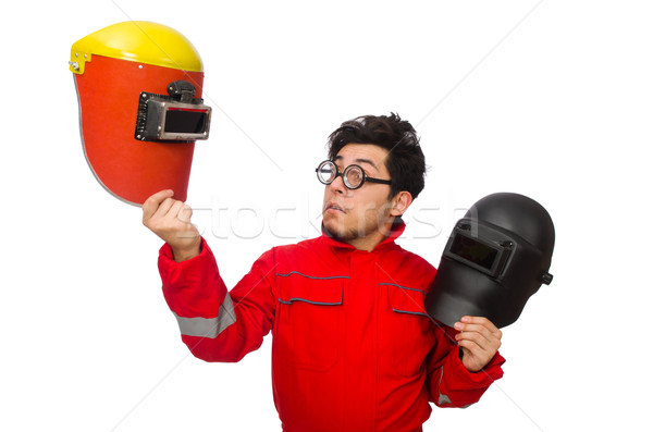 Funny welder isolated on white Stock photo © Elnur