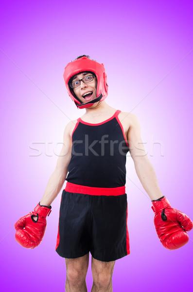 Drôle boxeur isolé blanche sourire corps Photo stock © Elnur