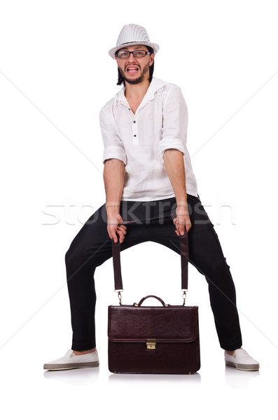 Stock photo: Young man with hat and handbag isolated on white