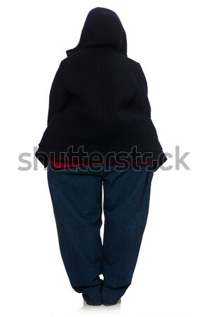 Übergewicht Mann isoliert weiß Gesundheit Abendessen Stock foto © Elnur