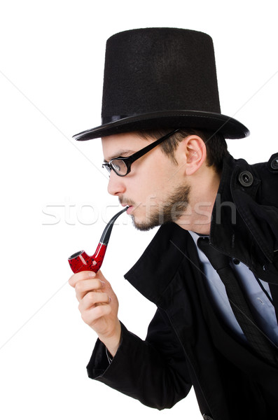 Young detective with smoking pipe isolated on white Stock photo © Elnur
