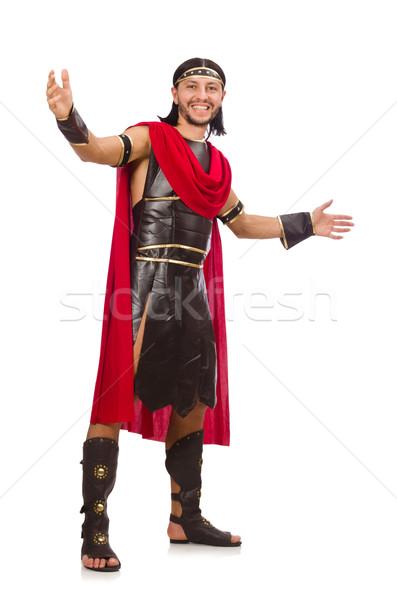 Gladyatör yalıtılmış beyaz adam kırmızı elbise Stok fotoğraf © Elnur