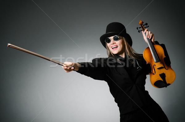 Nő játszik klasszikus hegedű zene fa Stock fotó © Elnur