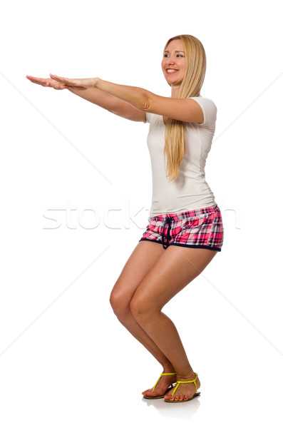 Young woman doing physical exercises isolated on white Stock photo © Elnur