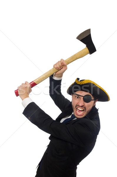 Stock photo: Pirate businessman with axe isolated on white