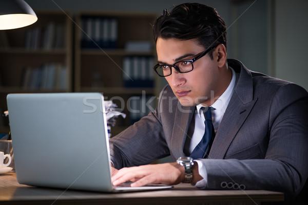 Man kantoor lang papier werk zakenman Stockfoto © Elnur