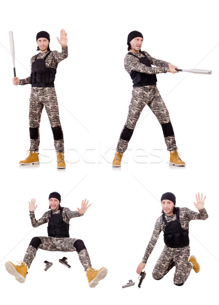Stock photo: Young man in military uniform isolated on white