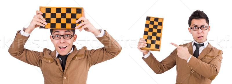 Komik satranç oyuncu yalıtılmış beyaz başarı Stok fotoğraf © Elnur