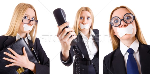 Businesswoman with phone in censorship concept Stock photo © Elnur