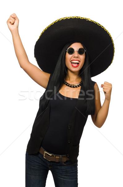 Jonge Mexicaanse vrouw sombrero geïsoleerd Stockfoto © Elnur