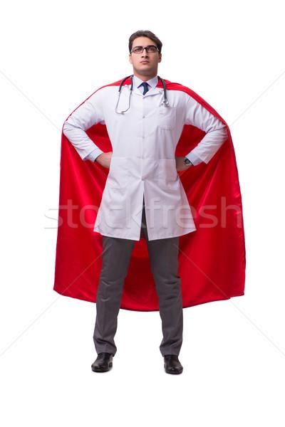 Szuperhős orvos izolált fehér orvosi vicces Stock fotó © Elnur