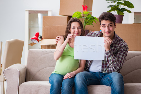 Young couple expecting baby with blank message Stock photo © Elnur