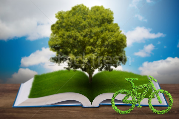 Open book and bicycle in ecological concept - 3d rendering Stock photo © Elnur