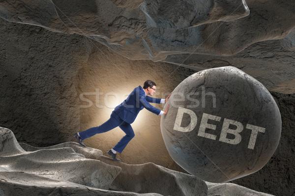 Stockfoto: Zakenman · hoog · schuld · business · huis · financieren