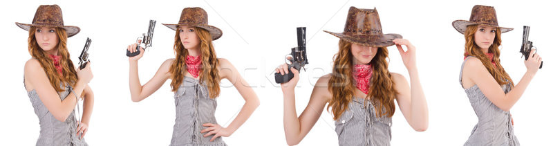 Woman gangster with gun isolated on white Stock photo © Elnur