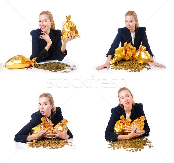 Nő érmék arany üzlet pénz háttér Stock fotó © Elnur