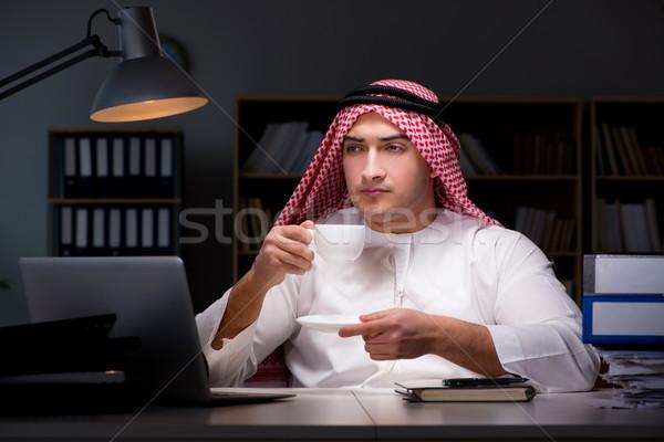 Arap işadamı çalışma geç ofis iş Stok fotoğraf © Elnur
