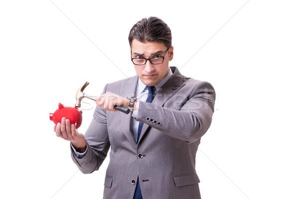 бизнесмен изолированный белый фон наличных Сток-фото © Elnur