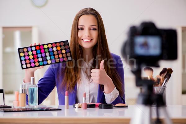 Beauty fashion blogger recording video Stock photo © Elnur