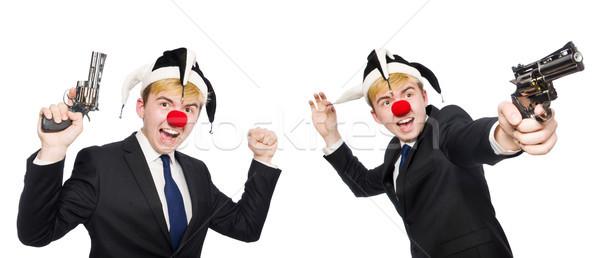 Zakenman clown grappig geïsoleerd witte gelukkig Stockfoto © Elnur