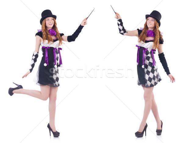 Magik kobieta biały szczęśliwy tle zabawy Zdjęcia stock © Elnur
