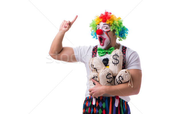 Funny clown with money sacks bags isolated on white background Stock photo © Elnur