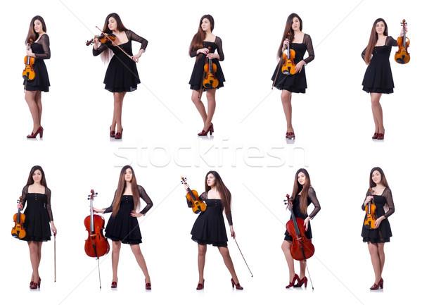 Nő előadó játszik hegedű fehér háttér Stock fotó © Elnur