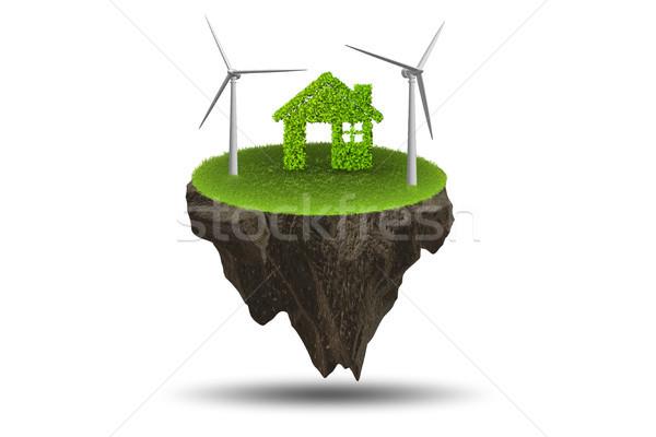 Repülés lebeg sziget zöld energia 3D renderelt kép Stock fotó © Elnur