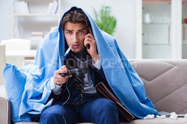 сотрудник страдание играет компьютерная игра домой компьютер Сток-фото © Elnur