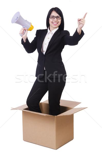 Mujer de negocios altavoz cuadro mujer cara empresario Foto stock © Elnur