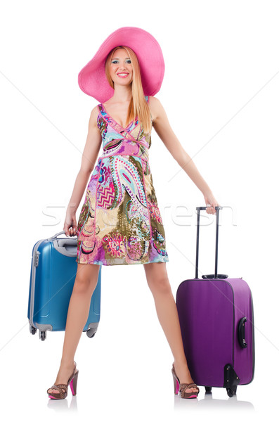 Girl with suitcases isolated on white Stock photo © Elnur