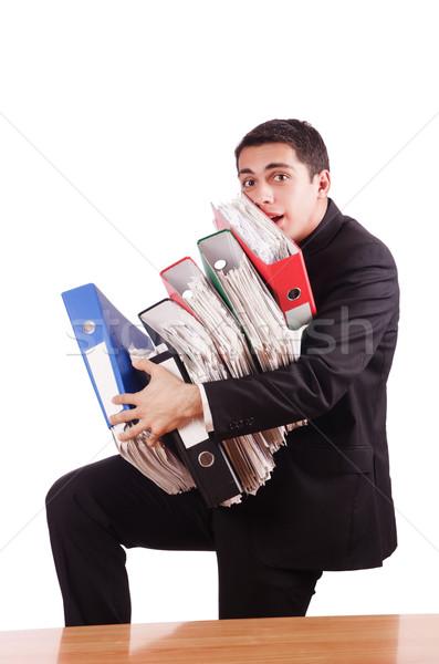 молодые занят бизнесмен столе телефон работу Сток-фото © Elnur