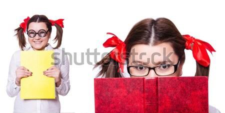 Divertente ragazza libro bianco scuola scienza Foto d'archivio © Elnur