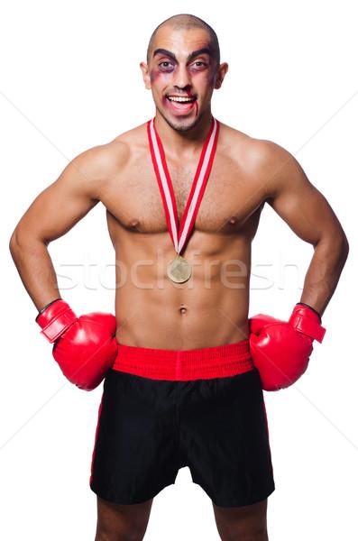 Vesztes boxoló izolált fehér sport háttér Stock fotó © Elnur