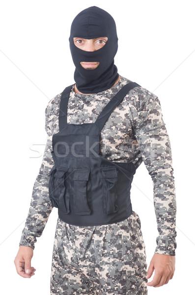 żołnierz kamuflaż odizolowany biały człowiek tle Zdjęcia stock © Elnur