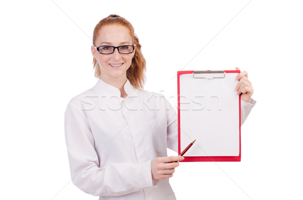 Young  medical  student  with   binder isolated on white Stock photo © Elnur