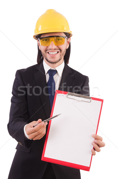 Businessman -builder  with binder  isolated on white Stock photo © Elnur