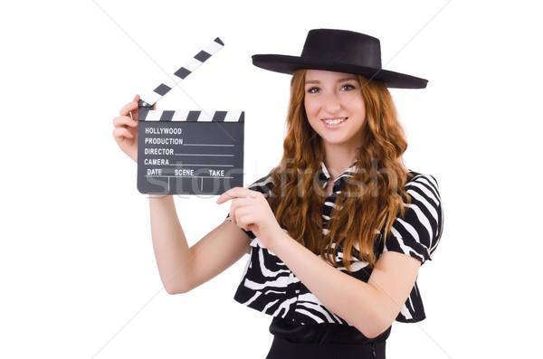 Foto stock: Mulher · jovem · filme · isolado · branco · mulher · menina