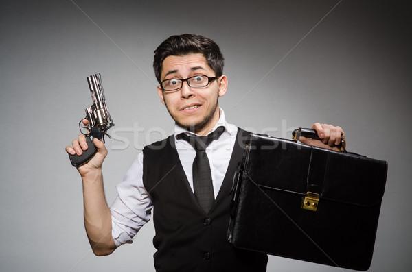 человека пушки портфель стороны безопасности бизнесмен Сток-фото © Elnur