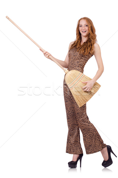 Woman with broom isolated on white Stock photo © Elnur