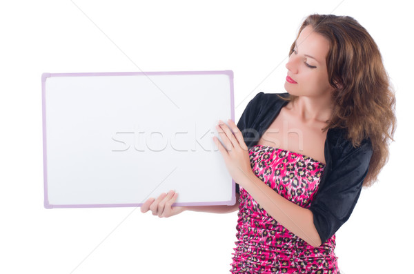 женщину совета изолированный белый улыбка работу Сток-фото © Elnur