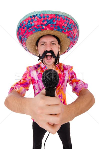 Komik Meksika geniş kenarlı şapka şapka adam mikrofon Stok fotoğraf © Elnur