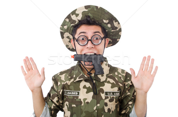 Funny żołnierz odizolowany biały tle zielone Zdjęcia stock © Elnur