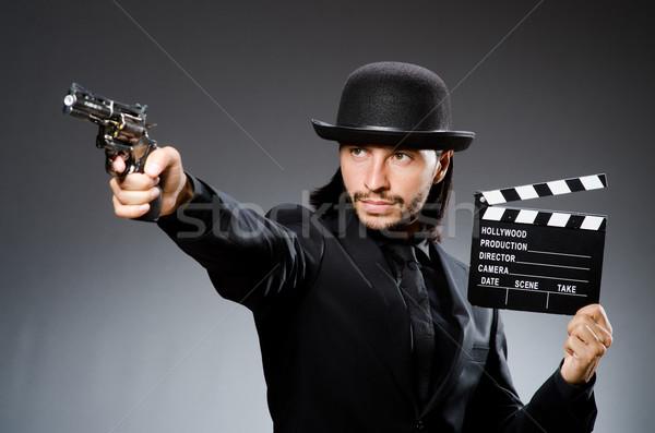 Homem pistola filme mão preto retro Foto stock © Elnur