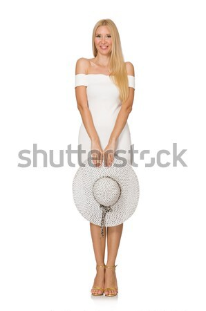 Woman in fashion clothing and panama isolated on white Stock photo © Elnur