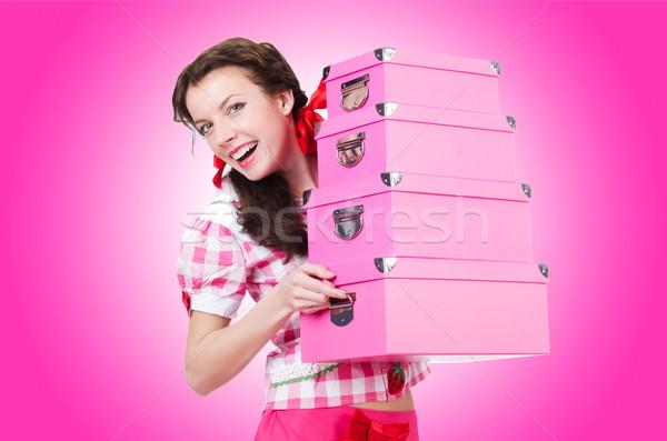 Genç kadın depolama kutuları beyaz kadın kız Stok fotoğraf © Elnur